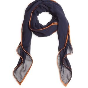Navy blue oblong scarf with leather trim